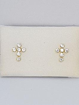 Brincos ouro cruz com zircónias - OC