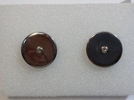 Botão de Punho Prata Ouro e Diamante