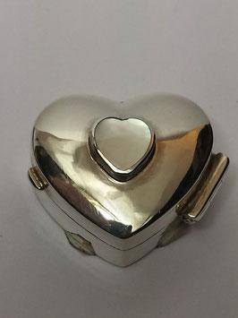 Caixa coração em prata com madre-pérola 21x18 mms