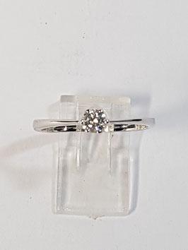 Anel ouro branco e diamante - solitário 0,15Cts - RS