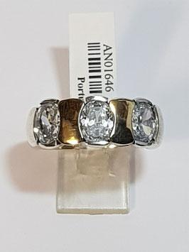 Anel em prata e ouro com 3 zircónias ovais - RR