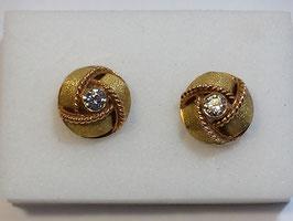 Botão de Punho Ouro - Nó com Zircónia CTª