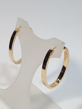 Brincos ouro argola oval de fio rectangular 28.3.1,5 - IGL