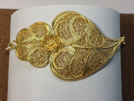 Pulseira escrava em prata dourada com Coração de Viana 55 - AN