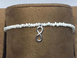 Pulseira em prata pérolas e símbolo do infinito - AN