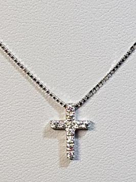 Fio ouro branco malha veneza com cruz de zircónias