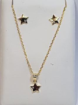 Fio e brincos em prata dourada com estrela - AU
