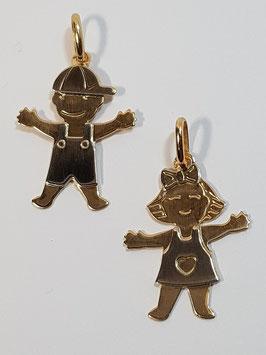 Berloque menina e menino em ouro - 20 AR