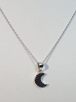 Fio prata meia lua com zircónias negras - RR/PP