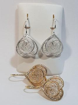 Brincos filigrana em prata coração invertido - Pestana / Borboleta - AN