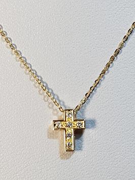 Fio ouro amarelo malha cadeado com cruz de zircónias - MM