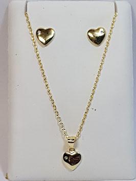 Fio e brincos em prata dourada com coração - AU