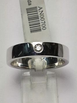 Anel ouro branco e diamante - solitário 0,06Cts - JE