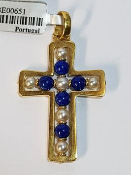 Cruz em ouro aro com pérolas de cultura e lápis lazuli - AG