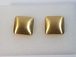 Botão de Punho Ouro - Quadrado Escovado  Abaulado - CTª