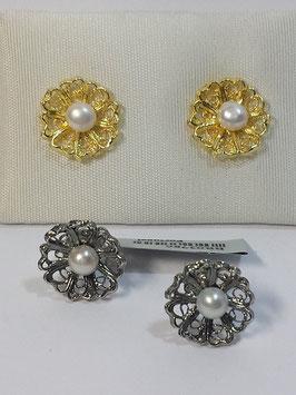 Brincos filigrana em prata - flor pérola - DB