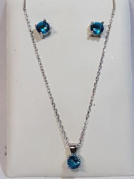 Fio e brincos em prata com zircónia azul marinho - AU