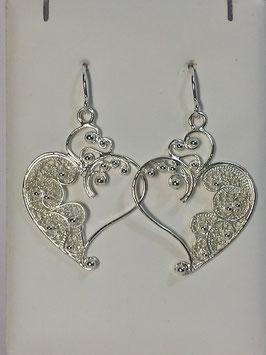 Brincos filigrana em prata coração aberto 40.27 - AN