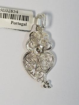 Coração de Viana de filigrana em prata com flor - abº 30.23 - AN
