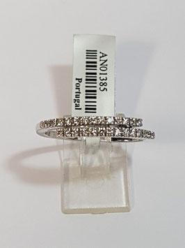 Anel ouro branco e diamantes - 1/2 memória dupla traçada - CA