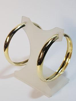 Argolas largas 1/2 cana prata dourada - RR