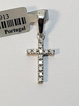 Cruz em ouro branco com 12 diamantes - AG