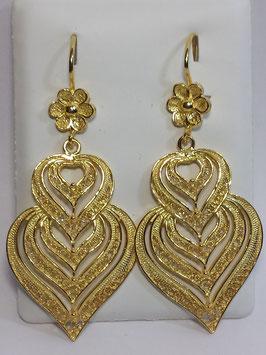 Brincos prata coração de Viana dourados 50