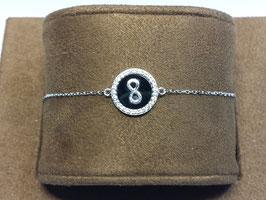 Pulseira em prata com símbolo do infinito, onix e aro de zircónias - AN