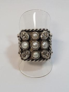 Anel em prata cabeça quadrada com zircónias e pérolas de cultura - APF