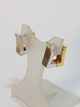 Argolas ouro branco fio quadrado bicolor 12.4 - AR