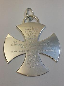 Cruz de Malta de Berço em Prata TOP - Oração Avé Maria