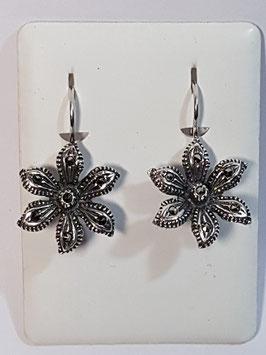 Brincos em prata flor com marcassitas - RB