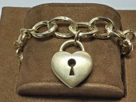 Pulseira prata dourada coração
