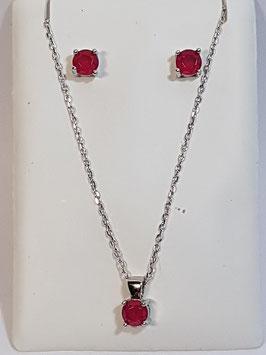 Fio e brincos em prata com zircónia vermelha - AU