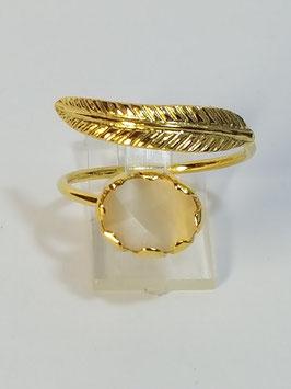 Anel em prata dourada com pena e zircónia branca - FM