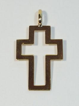Cruz em ouro chapa de cantos quadrados aberta larga 24.16.8 - ON