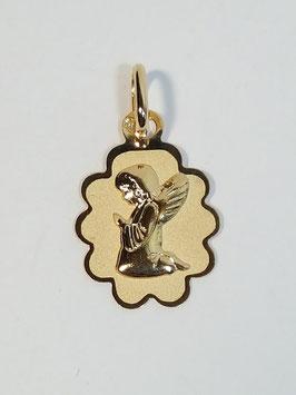 Medalha anjo joelhos flor - MM