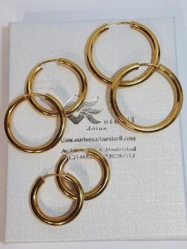 Brincos prata dourada argola canevão redondo 3mms - PP