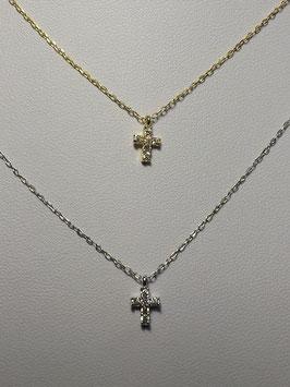 Fio prata cruz de zircónias 7mms