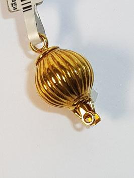 Fecho Colar Prata Dourada - Bola 12 Estrias - PP