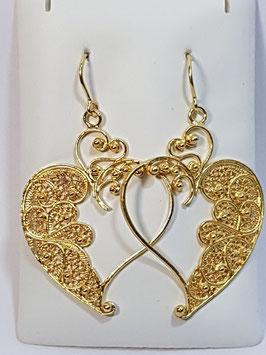 Brincos filigrana em prata dourada coração aberto 45.35 - AN
