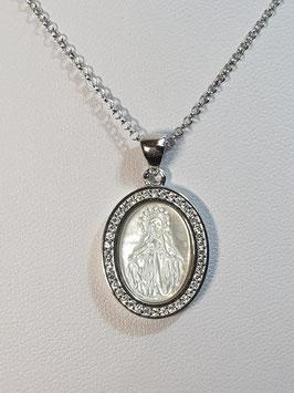 Fio de prata com medalha oval Nª Sª Graças aro de zircónias - ST
