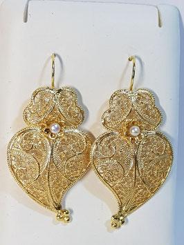 Brincos prata dourada Coração de Viana 45.35 pérola - AN