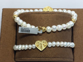 Pulseira de pérolas com coração e bolas filigrana em prata dourada
