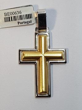 Cruz em ouro bicolor dupla - OE