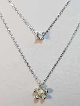 Fio prata duplo com zircónia e flor com pérola e zircónias - DB