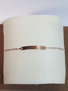 Pulseira de criança em ouro com chapa malha barbela larga 130.1,4 - MM