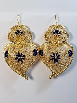 Brincos em prata dourada Coração de Viana 65.55  esmalte azul - AN