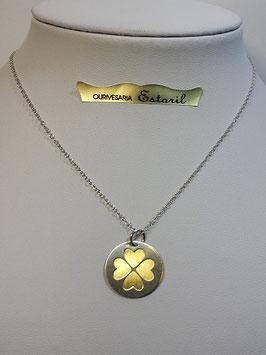 Fio de prata com medalha recortada em forma de trevo - JCC