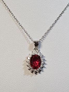 Fio prata com zircónia vermelha e aro de zircónias - Diana - AN